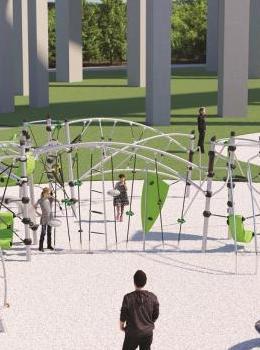 Une image 3D représentant, adultes et enfants jouant dans la plaine de jeux représentant l'univers des sciences